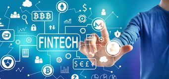 Cryptocurrency fintech theme with a man stock photo