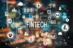 Cryptocurrency Fintech Theme With Blurred City Lights Royalty Free Stock Photos