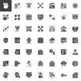 Cryptocurrency and fintech vector icons set. Solid symbol collection, Pictogram pack. Signs, logo illustration. Set includes icons as cryptocurrency fintech Stock Photo