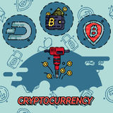 Cryptocurrency flat concept icons Royalty Free Stock Photography