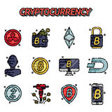 Cryptocurrency flat icons set. Vector illustration, EPS 10 Stock Image