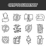 Cryptocurrency flat icons set. Vector illustration, EPS 10 Royalty Free Stock Photos