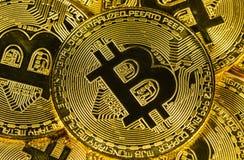 Cryptocurrency fysisk guld- bitcoin Royaltyfri Bild