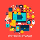 Cryptocurrency-Geldbörsen-flaches Konzept Stockfotos