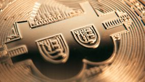 Crypto currency Gold Bitcoin - BTC - Bit Coin. Macro shots crypto currency Bitcoin coins rotating. Seamless looping. Cryptocurrency Gold Bitcoin - BTC - Bit stock video