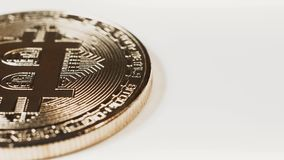 Crypto currency Gold Bitcoin - BTC - Bit Coin. Macro shots crypto currency Bitcoin coins rotating. Seamless looping. Cryptocurrency Gold Bitcoin - BTC - Bit stock video footage