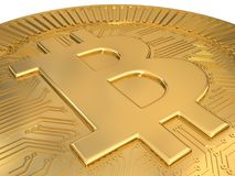 Cryptocurrency gold bitcoin - BTC. Macro 3d illustration. Stock Images