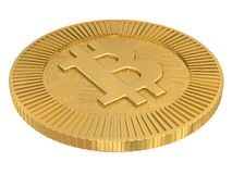 Cryptocurrency gold bitcoin - BTC. Macro 3d illustration of whole coin. Stock Photos