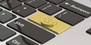 Cryptocurrency. Golden bitcoin as enter key of a computer keyboard. 3d illustration. Cryptocurrency concept. Golden bitcoin on golden enter key of a modern Stock Images