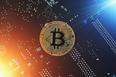 Cryptocurrency golden bitcoin coin. Conceptual image for crypto currency royalty free stock photo