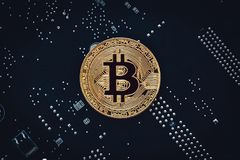 Cryptocurrency golden bitcoin coin - symbol of crypto currency - electronic virtual money on tech background stock photography