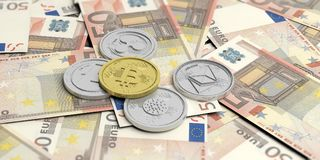 Cryptocurrency. Golden bitcoin and variety of silver virtual coins on 50 euros banknotes. 3d illustration. Cryptocurrency concept. Golden bitcoin and variety of Stock Photo