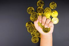 Cryptocurrency golden bitcoins coin in girl hand. Electronic vir Royalty Free Stock Photos
