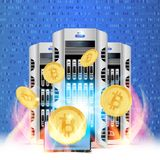 Cryptocurrency golden coin with data center and lap top on random numbers background. Bitcoin symbol of electronic money royalty free illustration