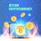 Cryptocurrency golden coin with lap top on random numbers background. Bitcoin symbol of electronic money in fire and light effects. Flat vector Illustration Stock Photos