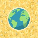 Cryptocurrency golden coins with cryptocurrency symbol and Earth stock illustration