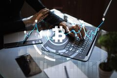 Cryptocurrency graph on virtual screen. Business, Finance and technology concept. Bitcoin, Ethereum. Cryptocurrency graph on virtual screen. Business, Finance Stock Image