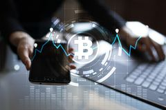 Cryptocurrency graph on virtual screen. Business, Finance and technology concept. Bitcoin, Ethereum. Cryptocurrency graph on virtual screen. Business, Finance Royalty Free Stock Photography