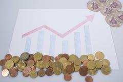Cryptocurrency, graphique financier avec des bitcoins et des pièces de monnaie d'euro images stock