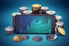 Cryptocurrency grow graph displayed on smartphone screen surrounded by different cryptocurrencies piles. Royalty Free Stock Images