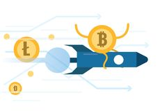 Bitcoin riding rocket  move faster than other cryptocurrency. Cryptocurrency growth concept. flat design element. vector illustration Royalty Free Stock Photography
