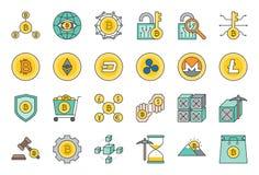 Cryptocurrency ha collegato l'insieme dell'icona illustrazione di stock