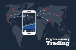 Cryptocurrency handlarski pojęcie w kreskowej sztuki stylu Obraz Royalty Free