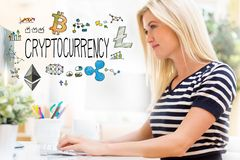 Cryptocurrency with happy young woman in front of the computer. Cryptocurrency with happy young woman sitting at her desk in front of the computer royalty free stock photo