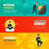 Cryptocurrency Horizontal Banners. Bright cartoon set of three horizontal bitcoin mining and cryptocurrency banners isolated on colorful background vector Stock Images