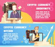 Cryptocurrency Horizontal Banners. With anonymous proprietor of digital currency and equipment for bitcoin mining flat vector illustration Stock Photo