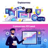 Cryptocurrency Horizontal Banners. With blockchain technology icons and man demonstrating graph of ICO launch flat vector illustration Stock Photos