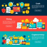 Cryptocurrency Horizontal Banners. Vector Illustration for Website Header. Financial Items Flat Design Stock Photos