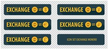 Cryptocurrency horizontal rectangulaire Monero d'échange de boutons Image libre de droits