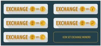 Cryptocurrency horizontal rectangulaire réglé Monero d'échange de boutons Photographie stock
