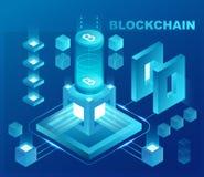 Cryptocurrency i blockchain isometric pojęcie Dane zasilający centrum, obłoczny przechowywanie danych Sieć projekt, prezentacja Obrazy Royalty Free