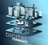 Cryptocurrency i blockchain wektoru ilustracja Fotografia Royalty Free