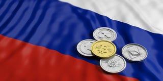 Cryptocurrency i Ryssland Guld- bitcoin och variation av faktiska mynt för silver på Ryssland sjunker bakgrund illustration 3d Arkivfoton