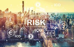 Cryptocurrency ICO risk theme with aerial view of Manhattan, NY Royalty Free Stock Photos
