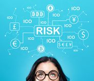 Cryptocurrency ICO risk theme with young woman royalty free stock photo