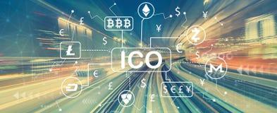 Cryptocurrency ICO tema med snabb rörelsesuddighet royaltyfri illustrationer