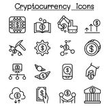 Cryptocurrency icon set in thin line style. Vector illustration graphic design Royalty Free Stock Images
