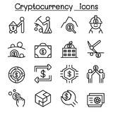 Cryptocurrency icon set in thin line style. Vector illustration graphic design Stock Photo