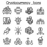 Cryptocurrency icon set in thin line style. Vector illustration graphic design Royalty Free Stock Photo