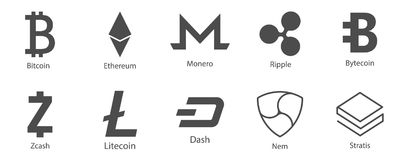 Cryptocurrency icons set for internet money. Blockchain based secure. Vector Royalty Free Stock Photo