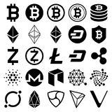 Cryptocurrency icons. Vector illustrations. Cryptocurrency black icons set. Vector illustrations royalty free illustration