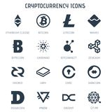 Cryptocurrency icons on white background. Cryptocurrency icons isolated on white background.Bitcoin Ethereum Classic Litecoin Waves Bytecoin Cardano Bitconnect Royalty Free Stock Photography