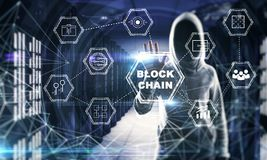 Cryptocurrency and innovation concept. Hacker using blockchain interface in blurry polygonal server room interior. Cryptocurrency and innovation concept. Double vector illustration