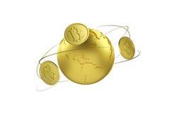 Cryptocurrency Intercambio de Bitcoin para los euros y el dólar Flechas alrededor de la moneda de la tierra y del mundo del plane Imágenes de archivo libres de regalías
