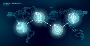 Cryptocurrency internacional global del blockchain Finanzas futuras modernas polivin?licas bajas del mapa del mundo que depositan libre illustration
