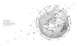 Cryptocurrency internacional global do blockchain da troca de informação da conexão Tecnologia futura poli do espaço do planeta b ilustração stock